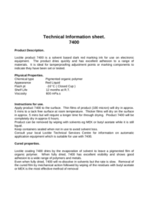 Technical Information sheet.<b> 7400